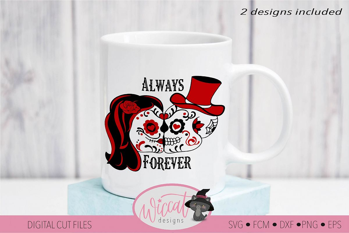 Sugar Skull valentine couple svg, forever and always example image 1