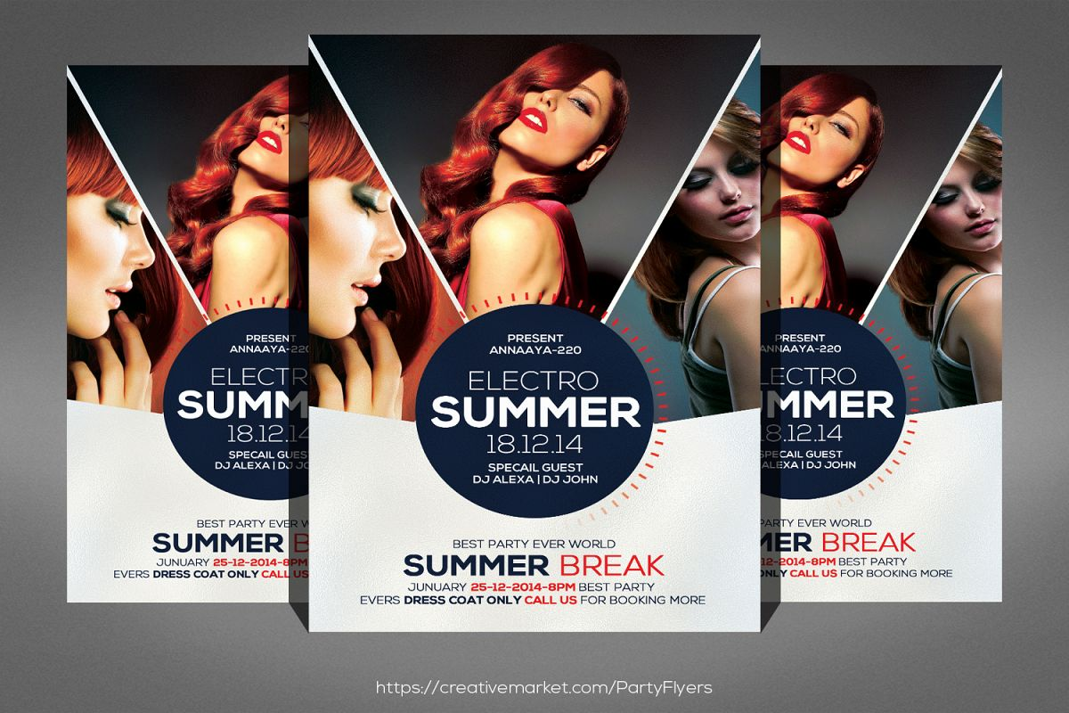 Summer Night Party Flyer Template example image 1