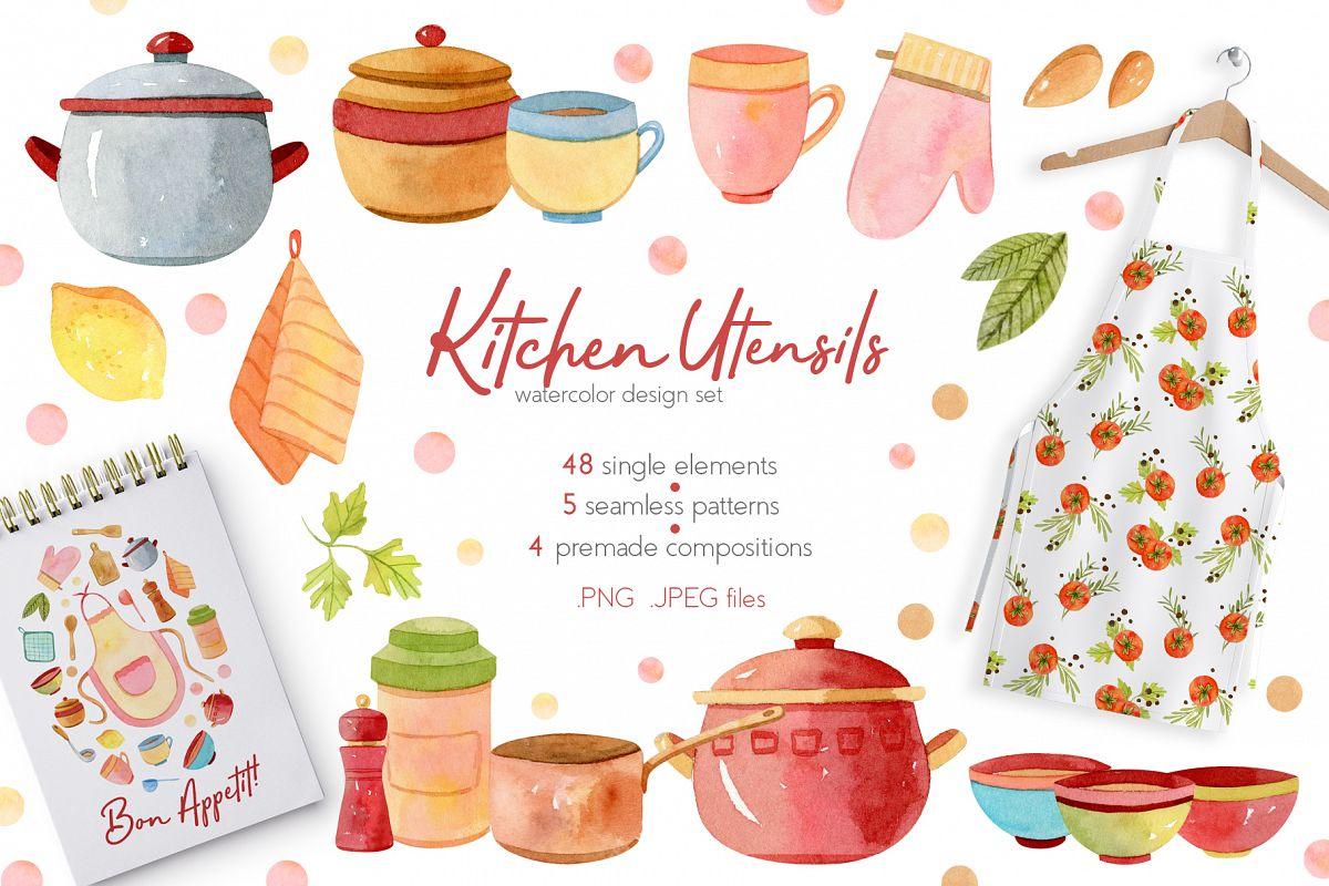 Watercolor Kitchen Utensils Set 2 example image 1