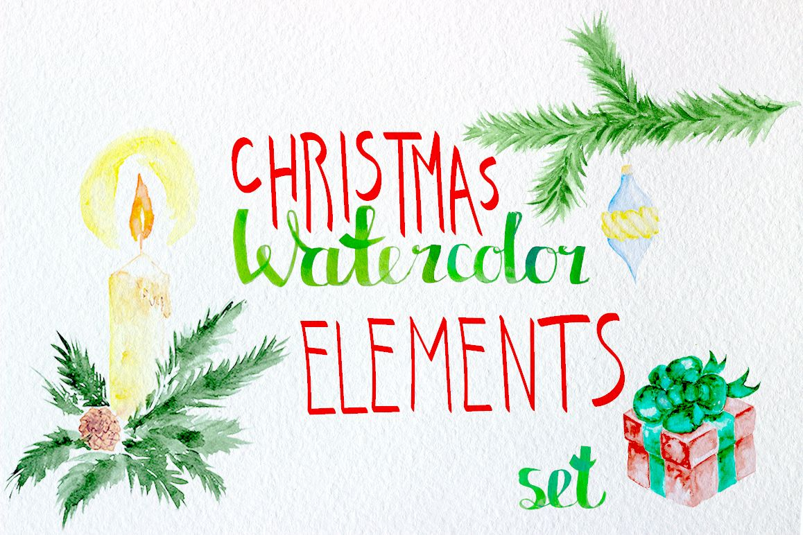 Watercolor christmas elements set example image 1