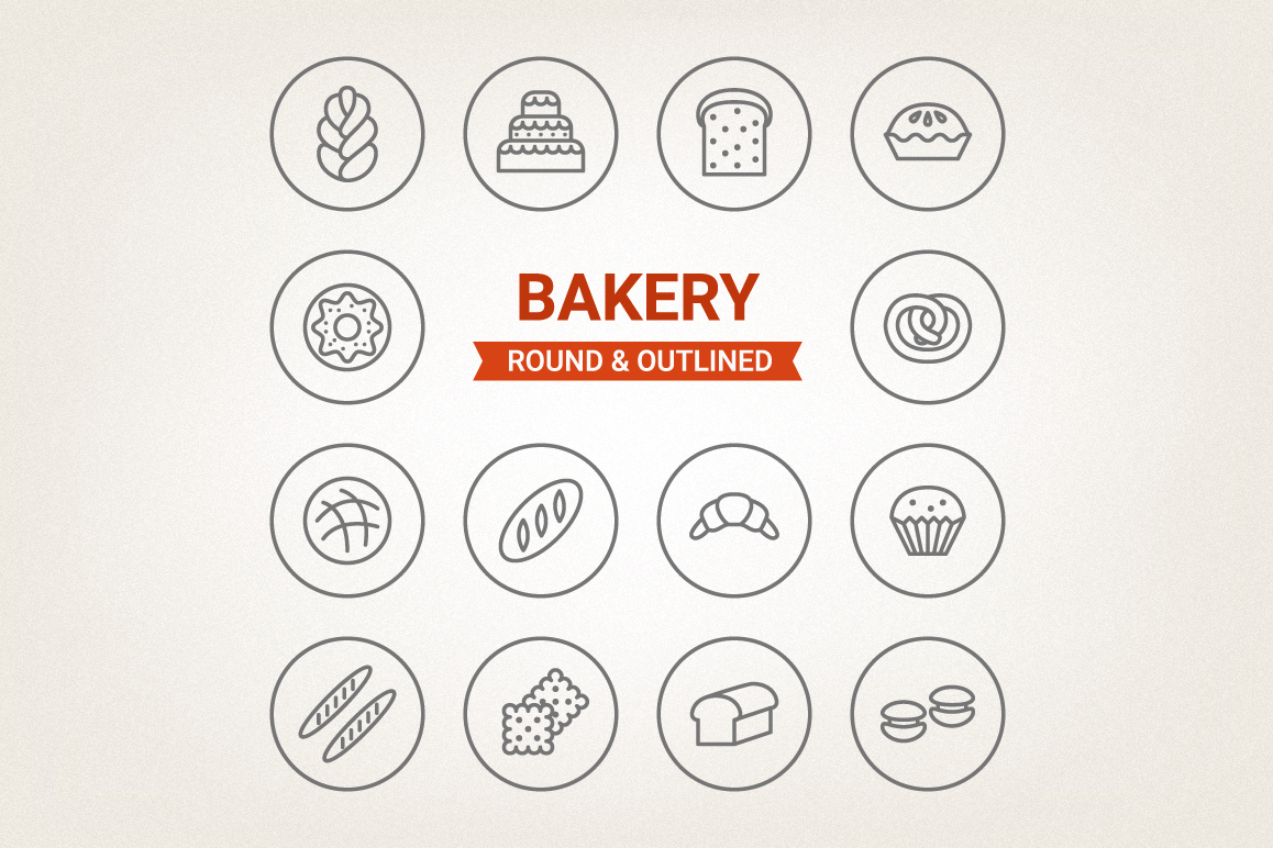 Circle Bakery Icons example image 1