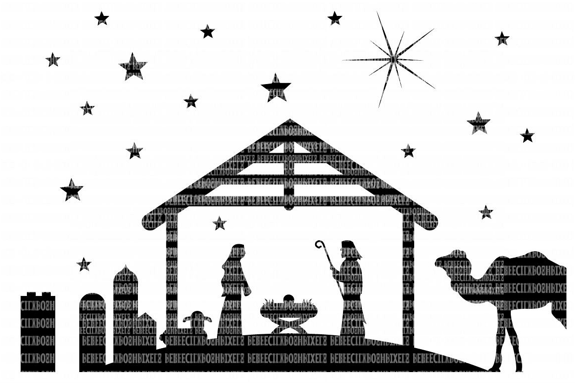 Christmas Nativity SVG Files Cut Files Heat Transfer Vinyl Scrapbooking Stencil EPS DXF Silhouette Cameo Cricut Commercial Use example image 1