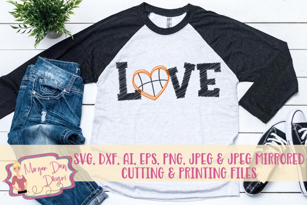 Grunge Love Basketball SVG, DXF, AI, EPS, PNG, JPEG example image 1