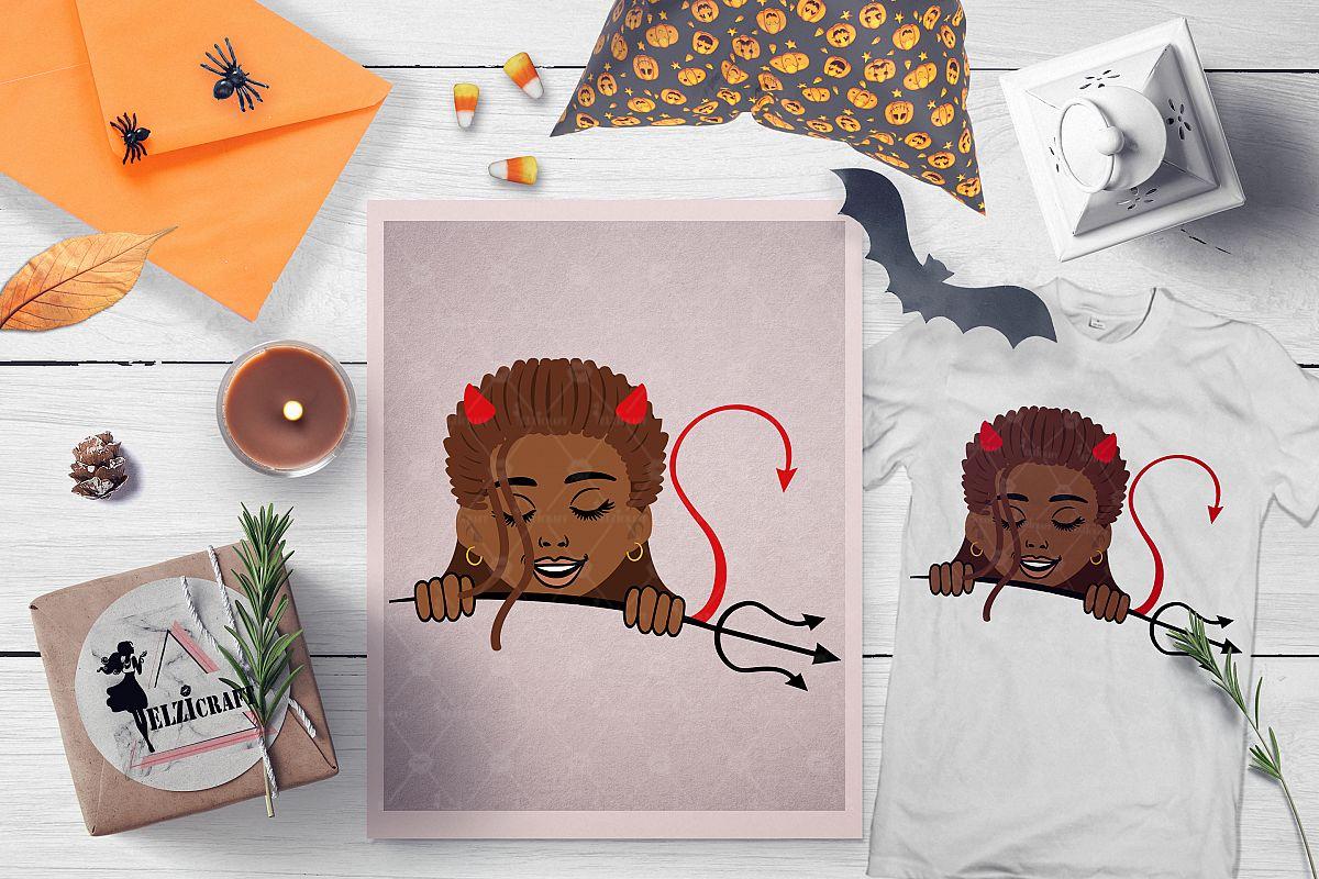 Halloween Afro Peeking Kid Little Devil Girl SVG Cut File example image 1