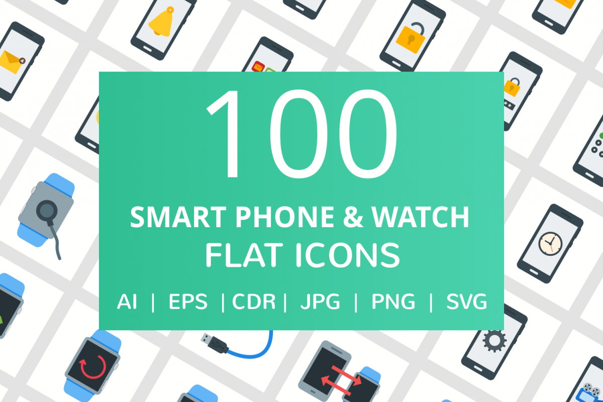 100 Smartphone & Smartwatch Flat Icons example image 1