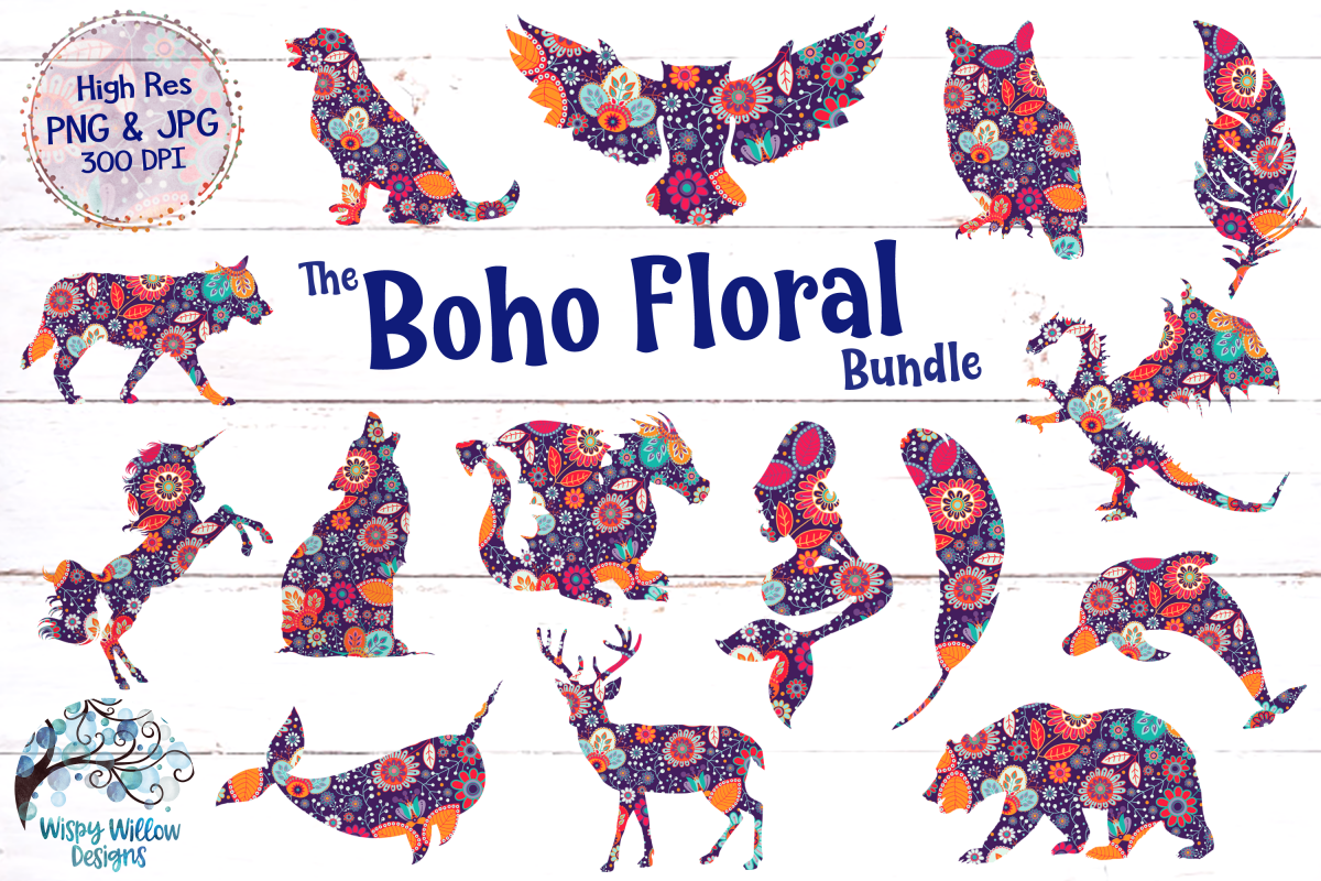 The Boho Floral Clipart Bundle | PNG and JPG | Sublimation example image 1