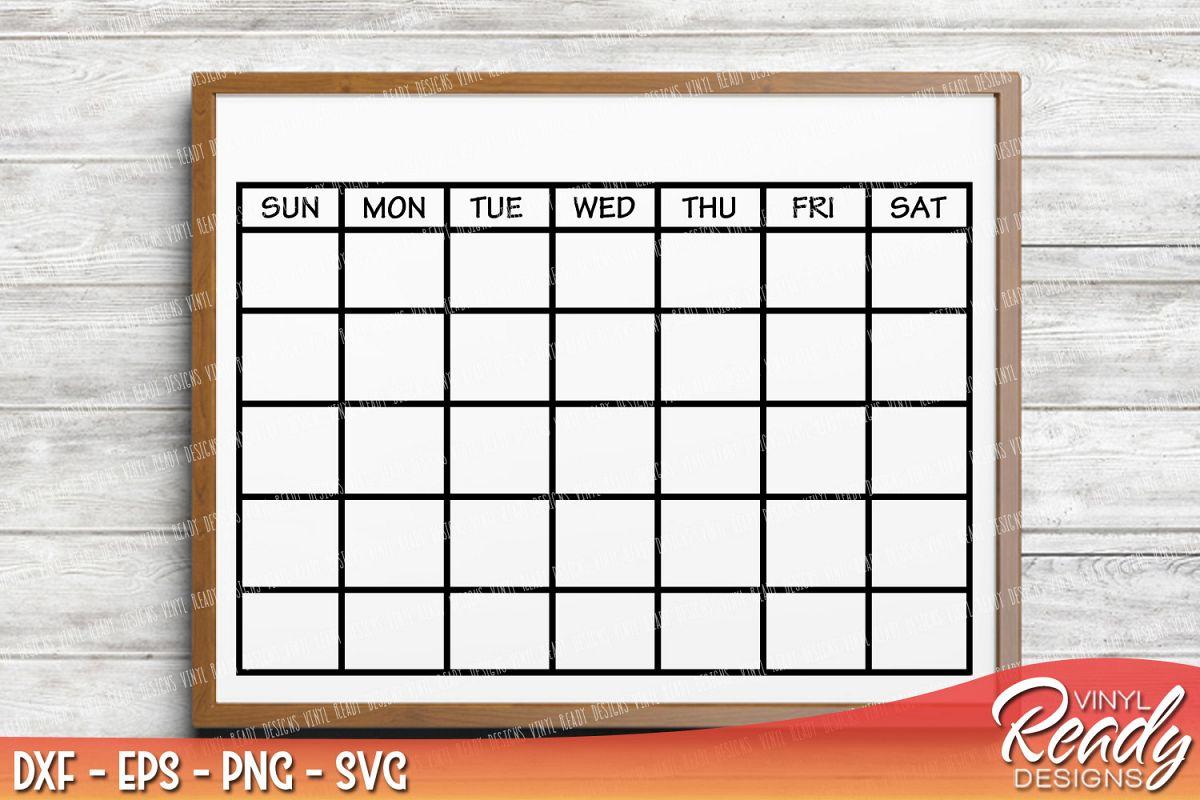 Monthly Calendar Template Vector Clip Art Cutting Files Dxf