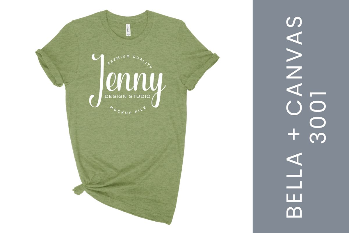 Women's Heather Green Bella Canvas 3001, white background example image 1