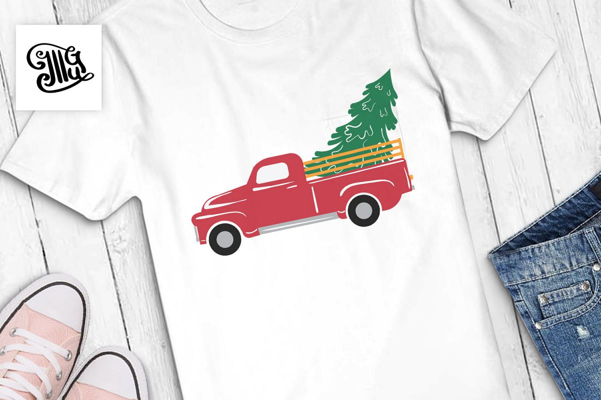 Vintage Christmas red truck with tree example image 1