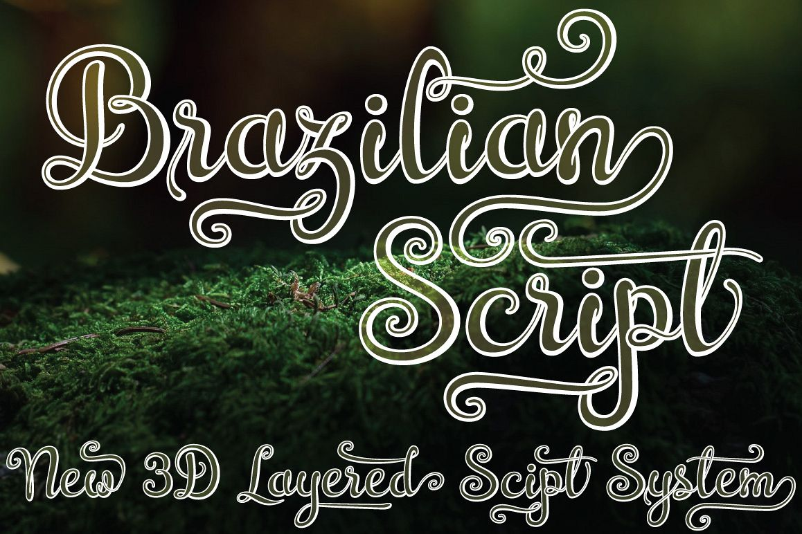 Brazilian Script (LAYERED FONT) example image 1