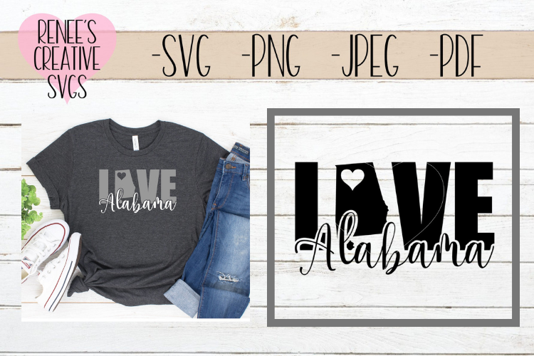 Alabama Love | State SVG | SVG Cutting file example image 1