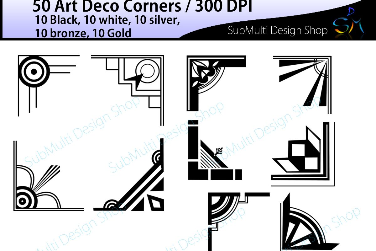 Art deco / art deco corners / art deco frames / art deco digital clipart / vector / High Quality / side corners / silhouette /digital files example image 1