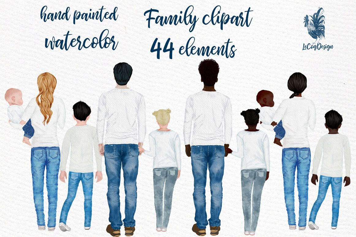Watercolor Family Clipart, People clipart Infant baby example image 1