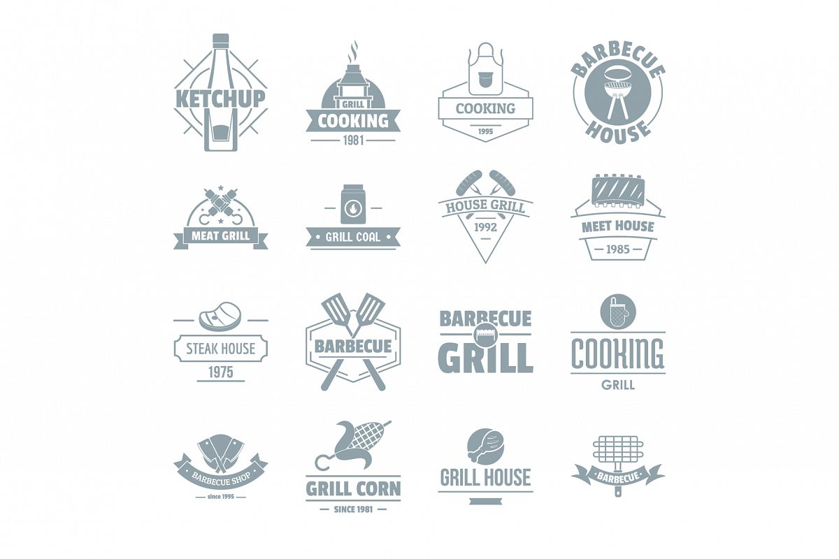 Barbecue grill logo icons set, simple style example image 1