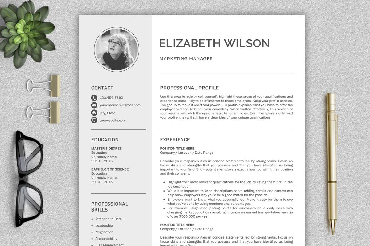 Creative Resume Template CV Word Example Image 1