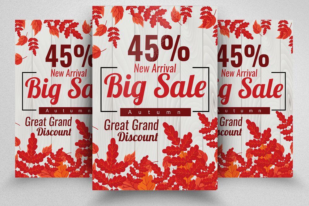 Autumn / Fall Season Big Sale Flyer Template example image 1