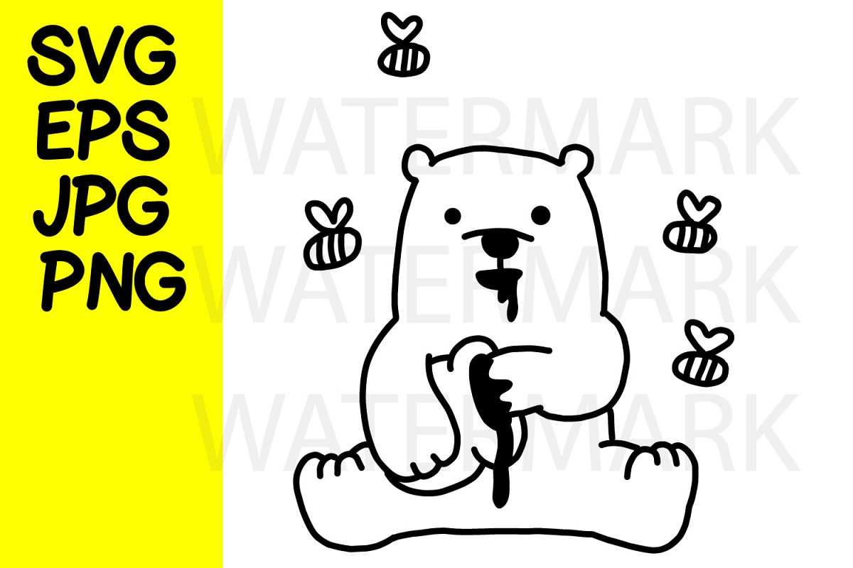 Bear Cub with honey- SVG-EPS-JPG-PNG example image 1
