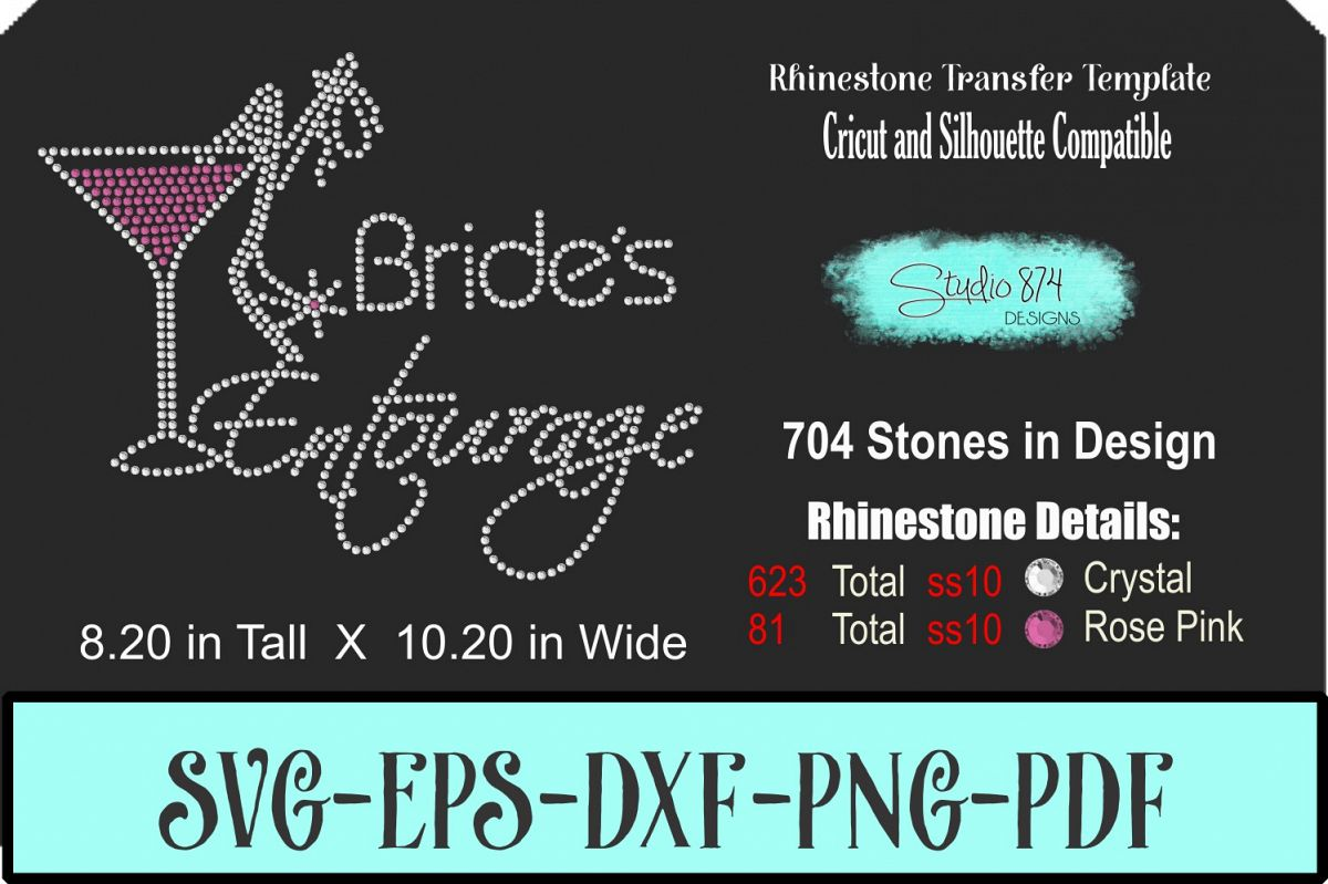 Brides Entouarge with Martini - Rhinestone SVG Transfer Temp example image 1