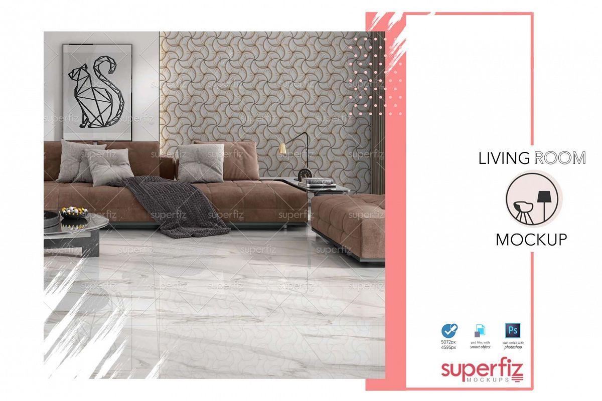 Blank Floor and Wall PSD Mockup Livingroom SM75 example image 1