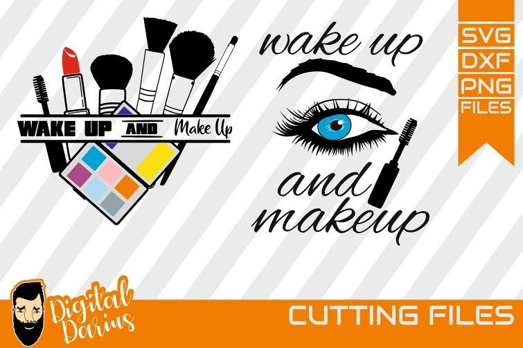 2x Wake up and make up svg, Mascara svg, Vector, Cricut, DXF example image 1