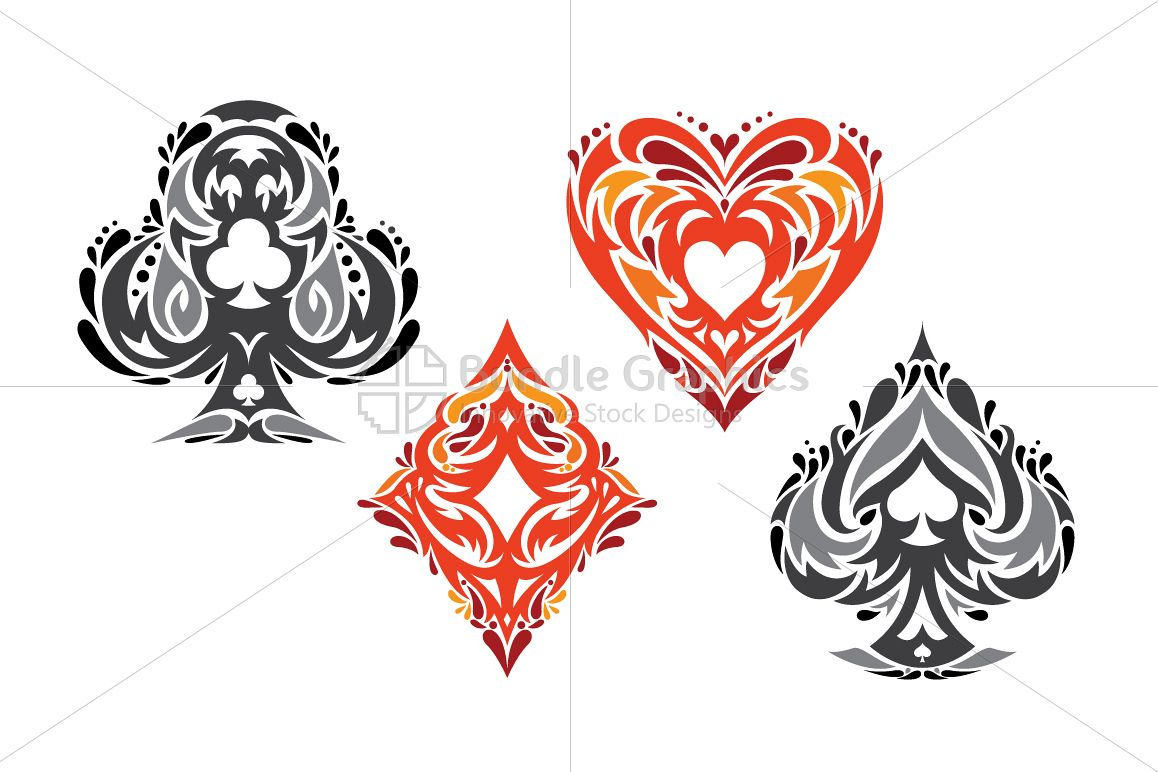 Playing Cards - Tribal Vector Symbols Set example image 1
