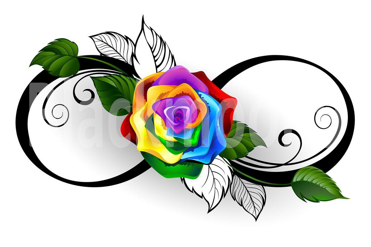 Rainbow rose tattoos designs — 2