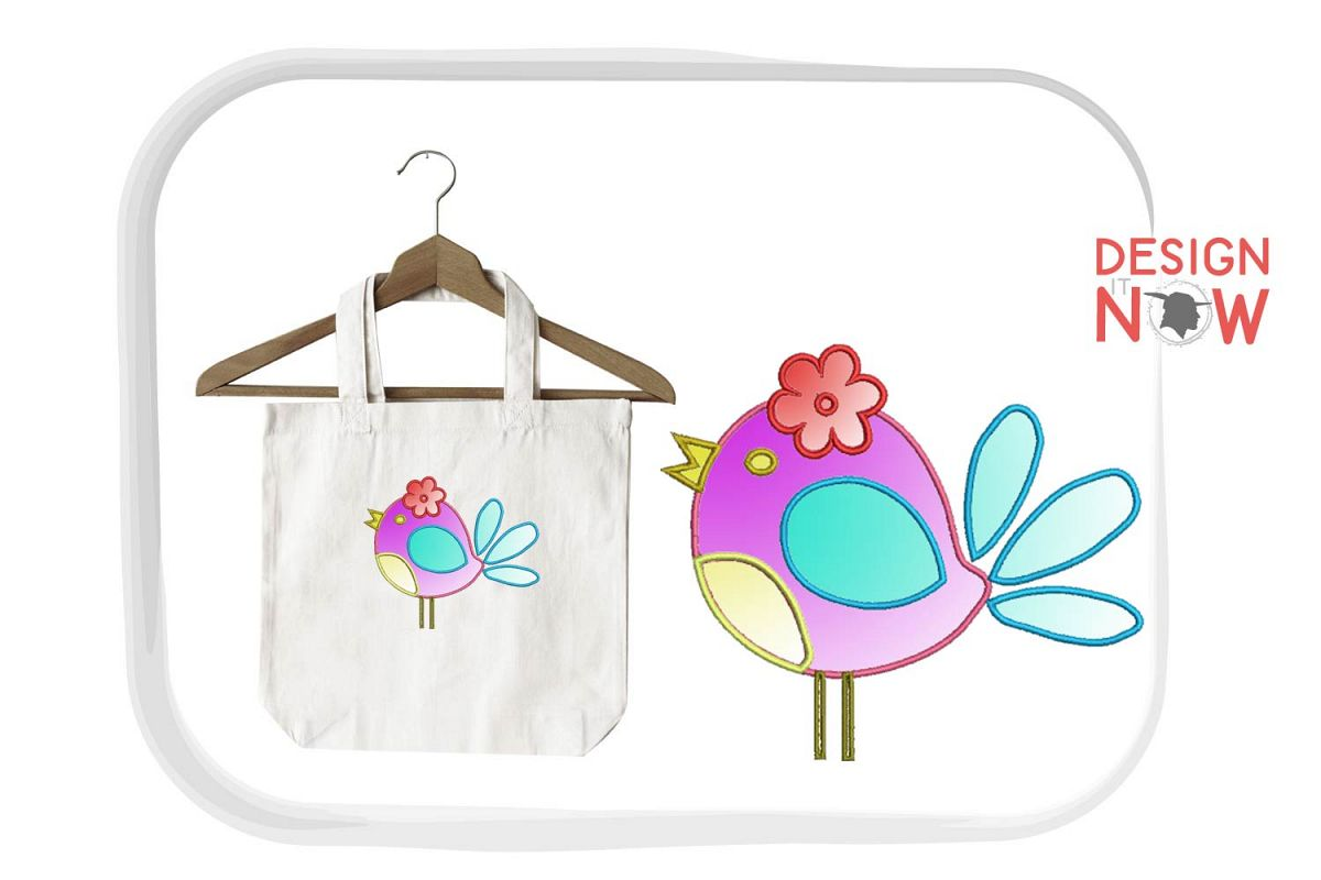 Bird Applique Embroidery Design, Bird Embroidery Pattern example image 1