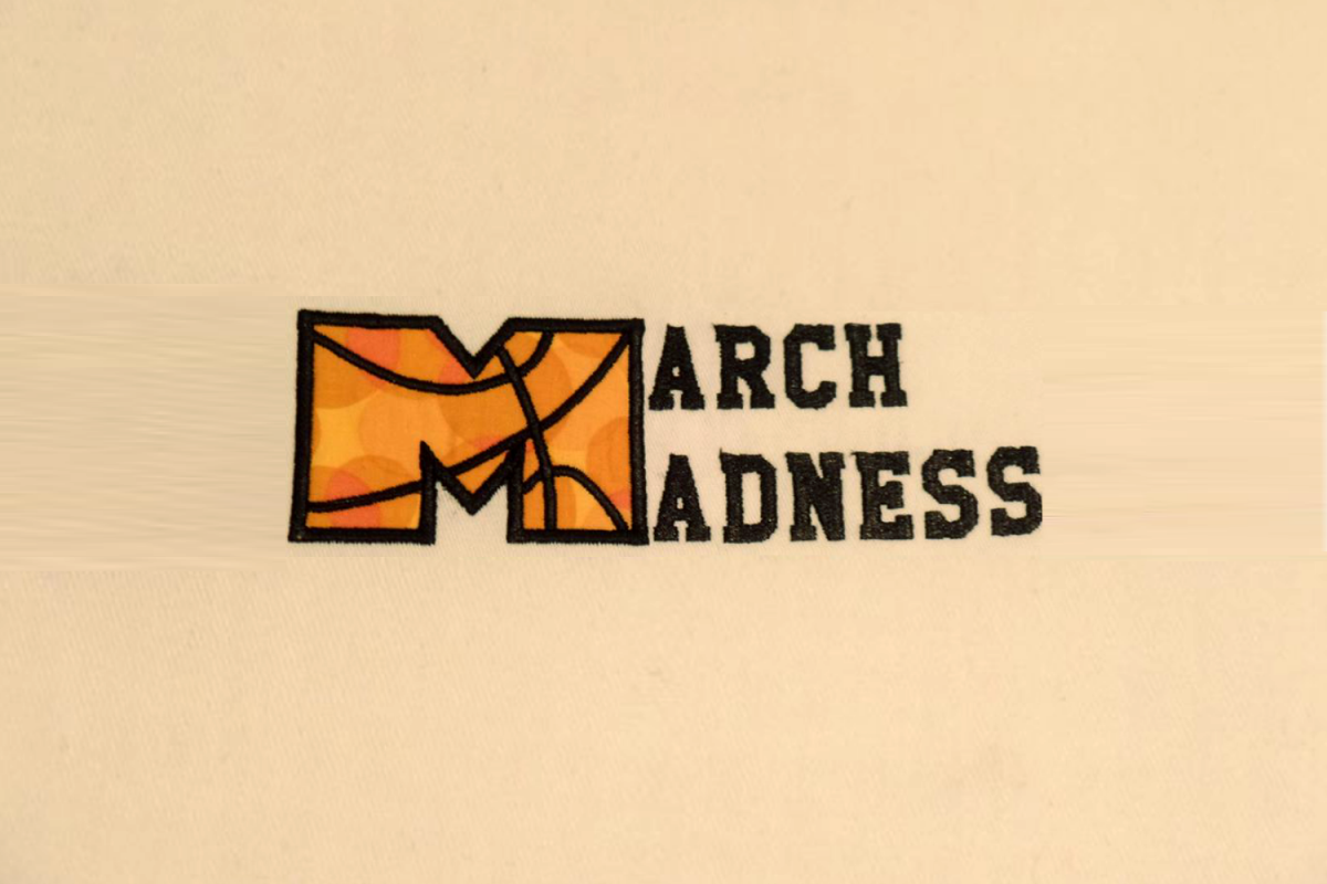 March Madness Basketball Applique Embroidery Design example image 1