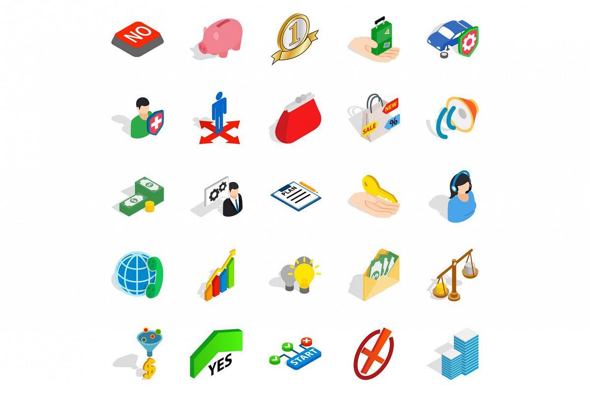 Planning icons set, isometric style example image 1
