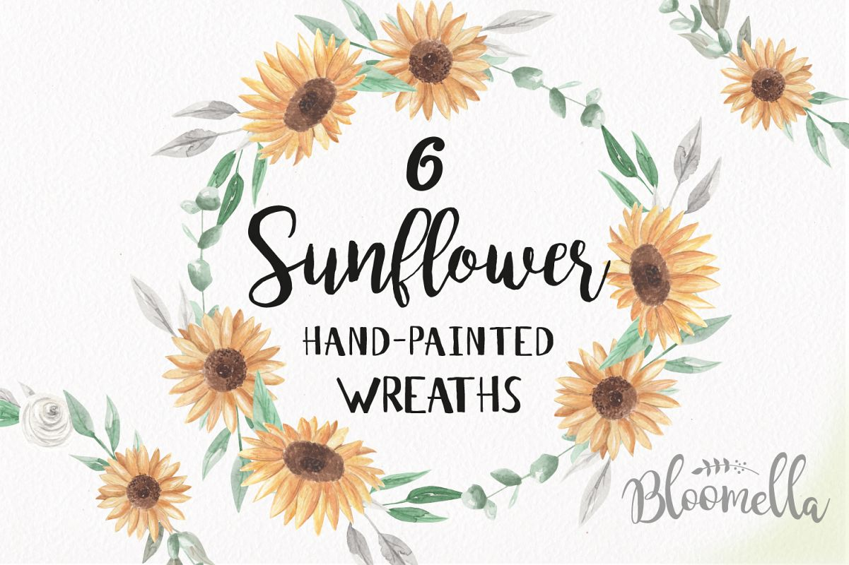 Watercolor Sunflowers Clipart Wreaths Flowers Garlands Floral