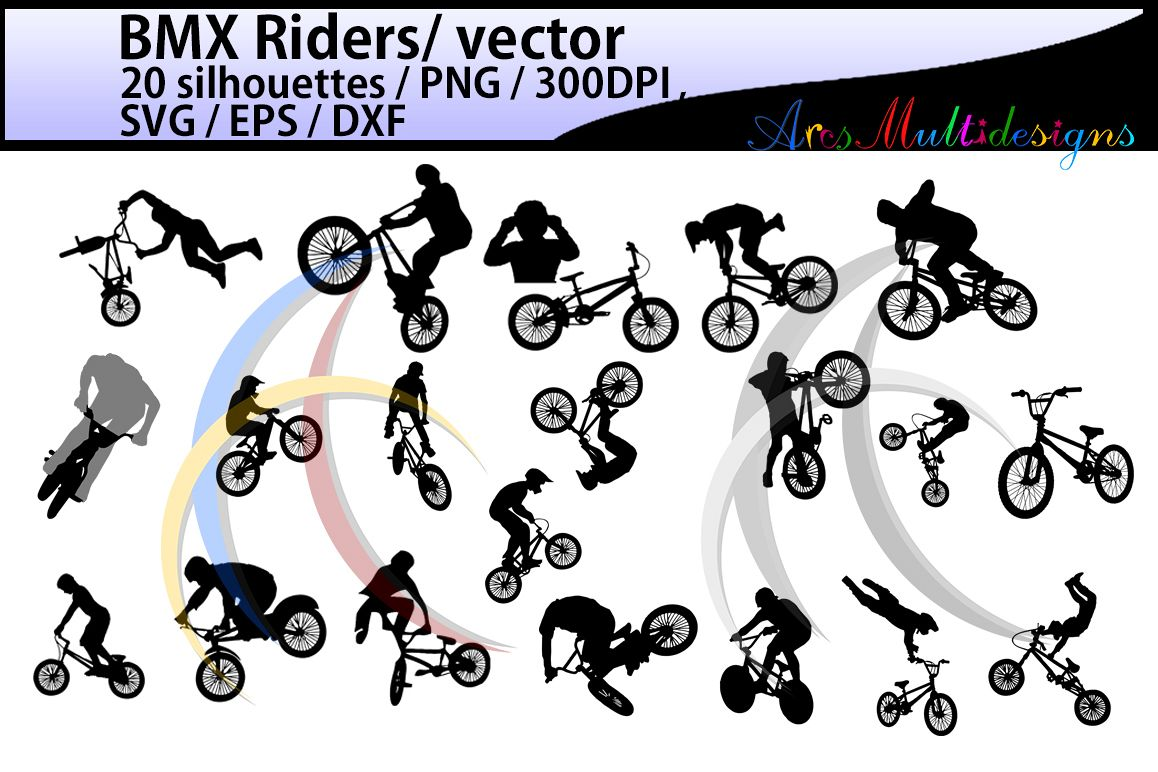 bmx rider silhouette / BMX Rider svg / bmx riders / bmx cycle / bmx rider cliparts / bmx rider vector / bike ride / SVG / EPS / Png / DXf example image 1