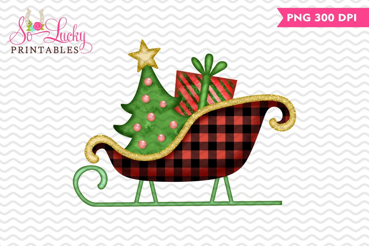 Christmas sleigh watercolor printable sublimation design example image 1