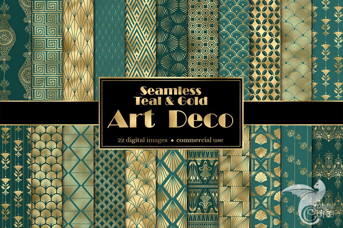 Teal and Gold Art Deco Digital Paper example image 1