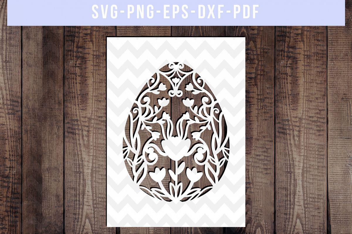 Easter Egg Frame Papercut Template, Metal Decor, SVG, PDF example image 1