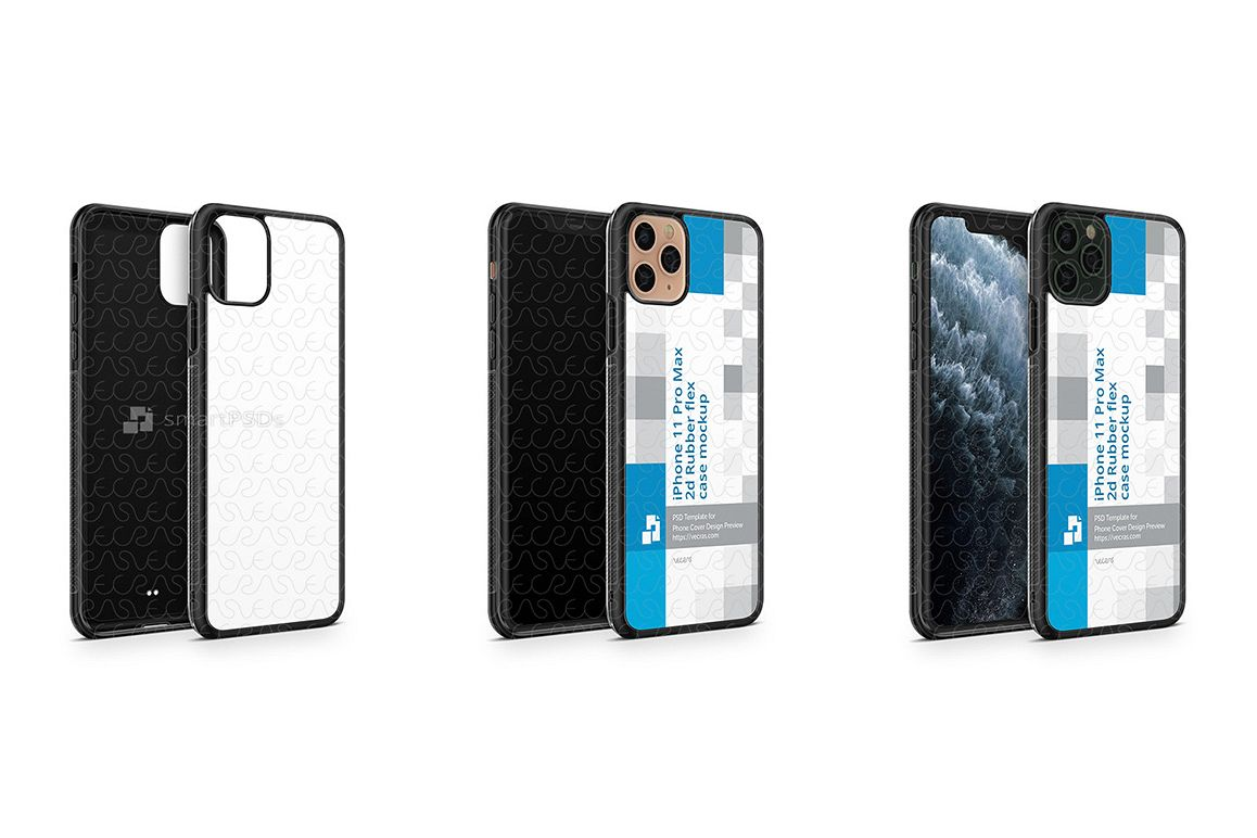 iPhone 11 Pro Max 2019 2d Rubber Flex Case Mockup Angled example image 1