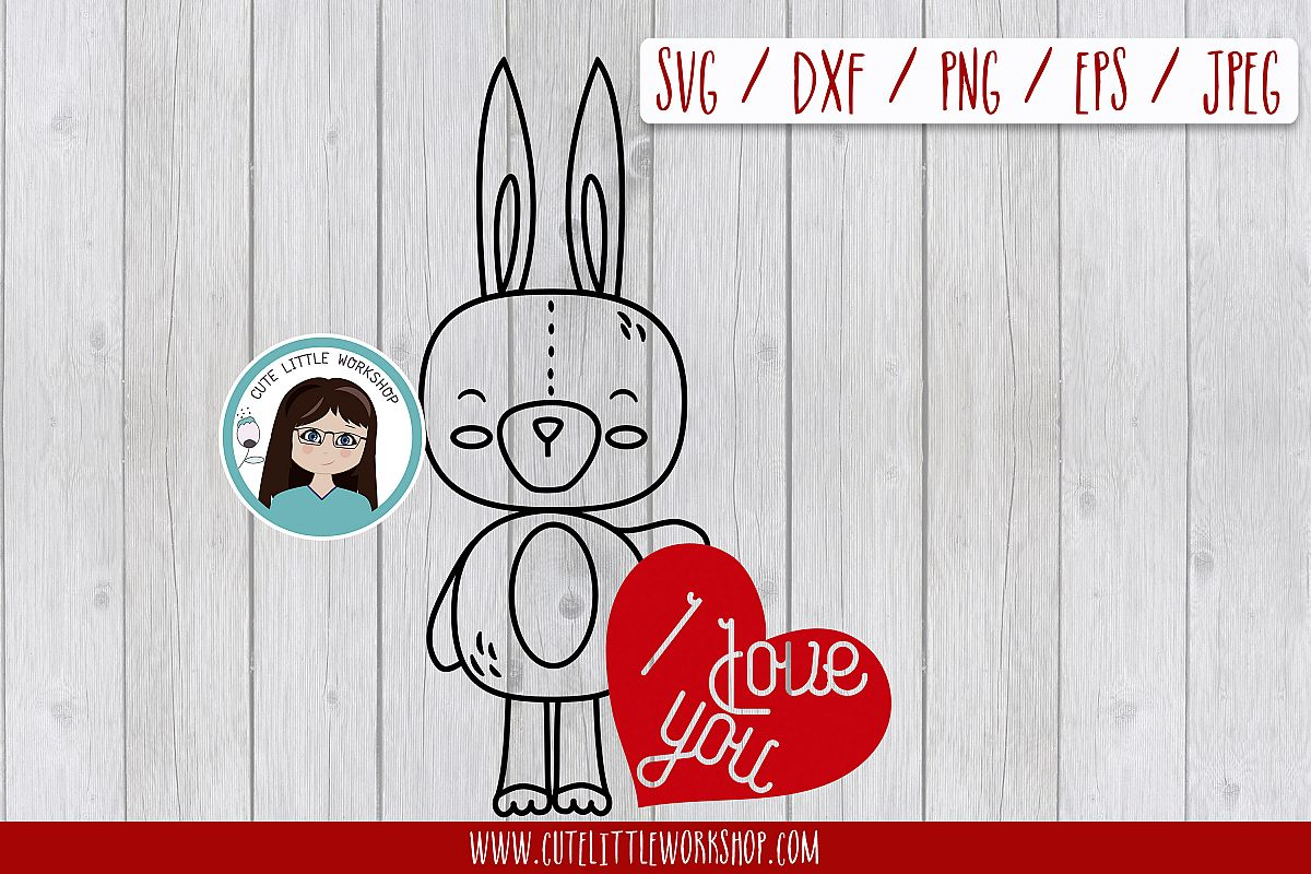Love bunnysvg, dxf, png, eps example image 1