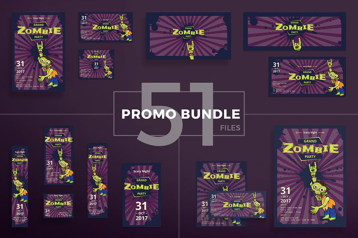Zombie Party Design Templates Bundle example image 1