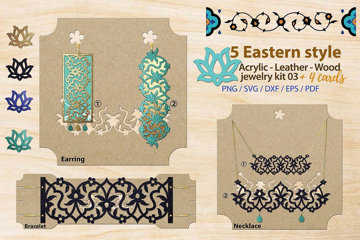 Eastern style acrylic leather wood jewelry kit 03 example image 1