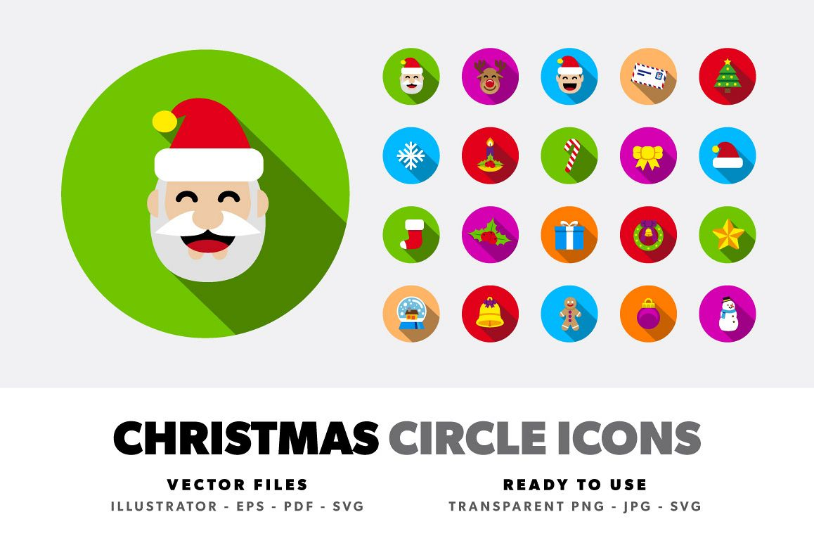 Christmas Circle Color Icons example image 1