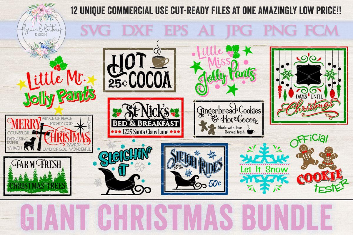 Giant Christmas Bundle of 12 SVG Cut Files LLC example image 1