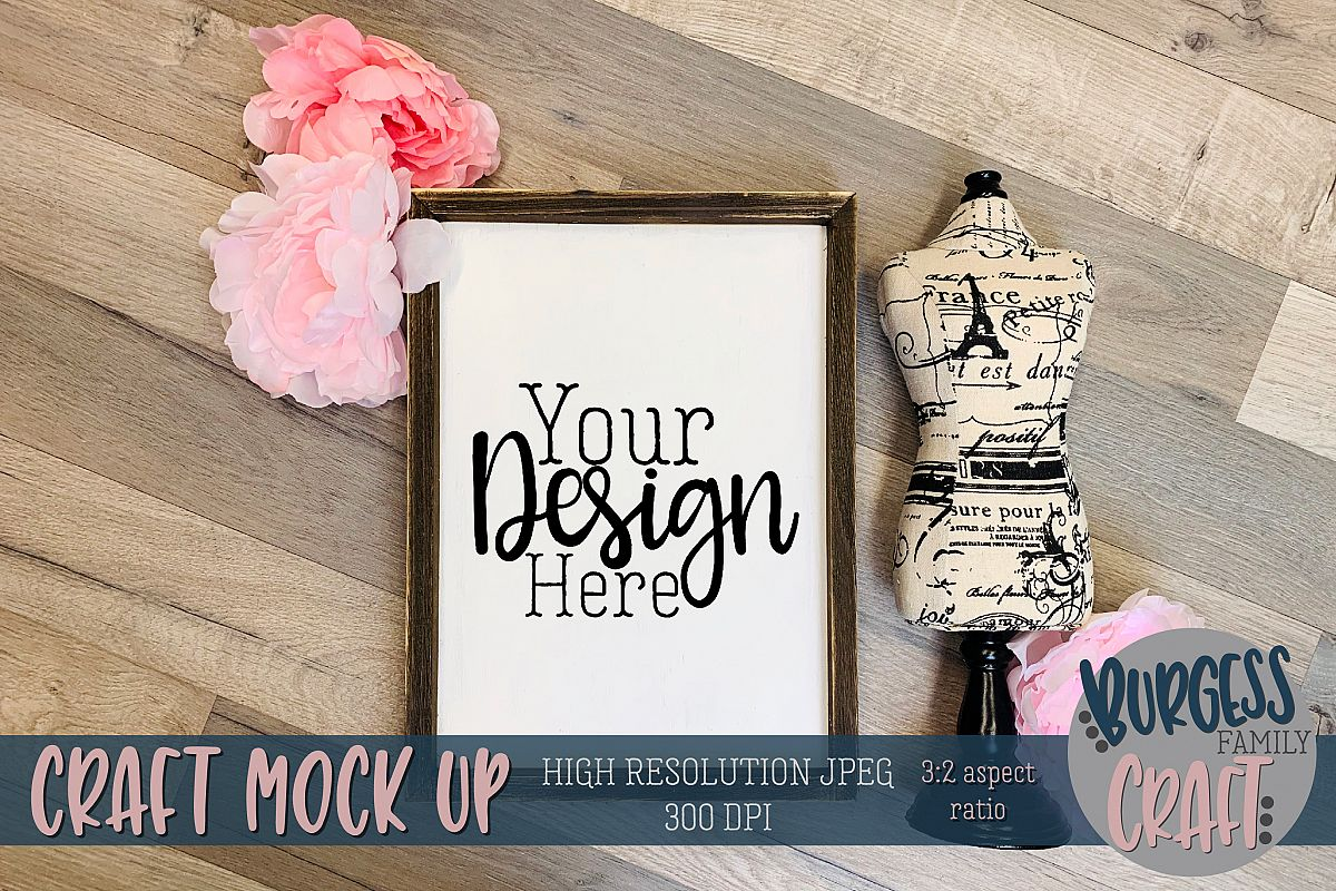 Paris inspired wood sign pink Craft mock up |High Res JPEG example image 1