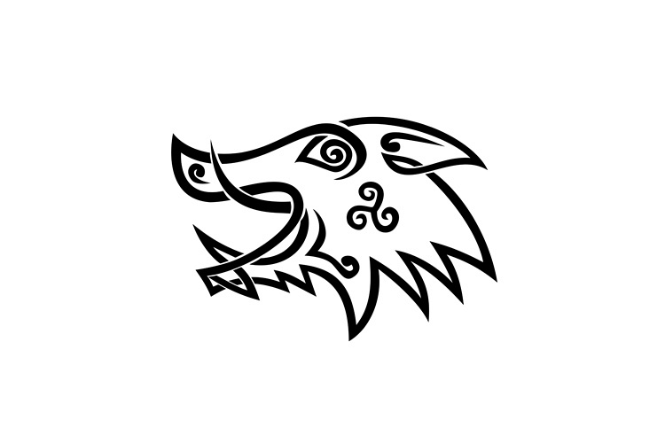 Boar Head Celtic Knot Black and White Stencil example image 1