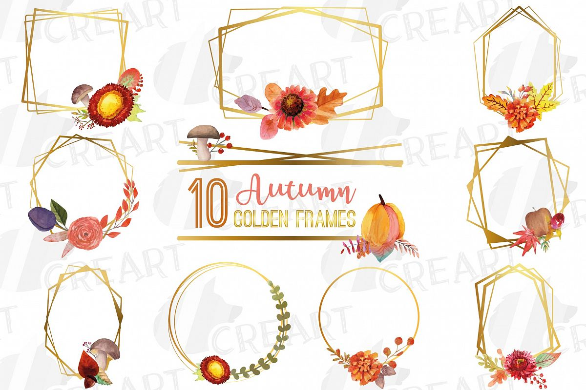 Watercolor elegant autumn geometric golden frame templates. example image 1