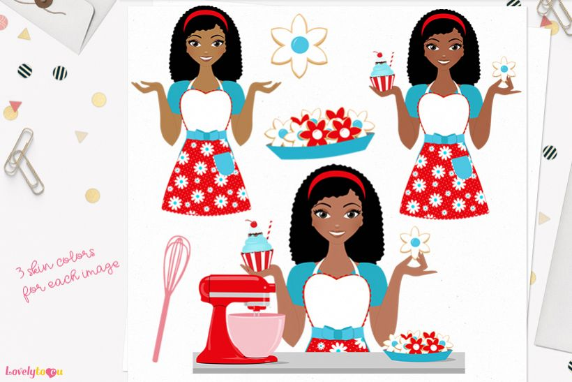 Woman baking character clip art L174 Nelly example image 1