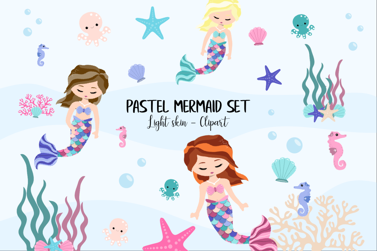 Pastel Mermaid Set - Light Skin Clipart example image 1