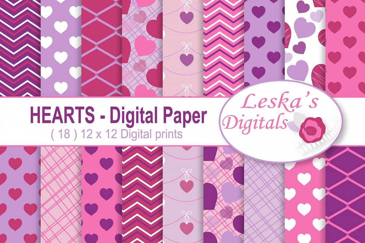 Hearts Digital Paper - Valentine Scrapbook Paper example image 1