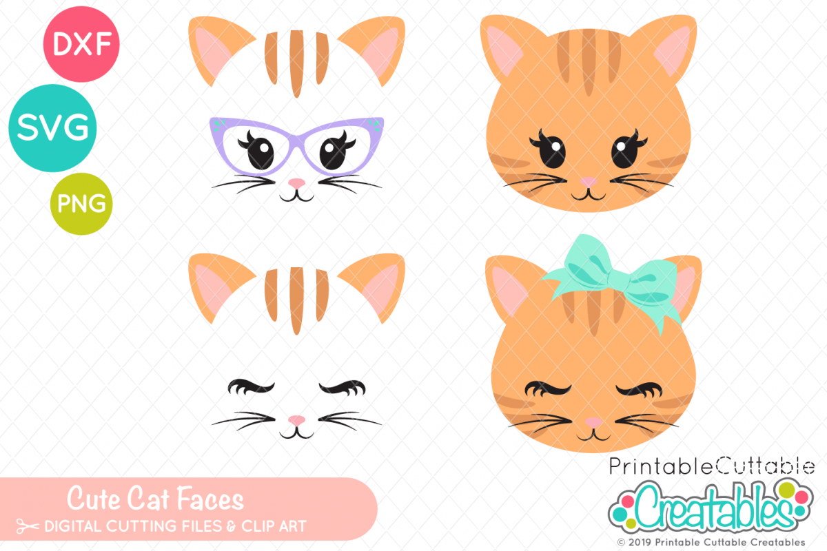 image about Printable Cuttable Creatables referred to as Lovable Cat Faces SVG Preset