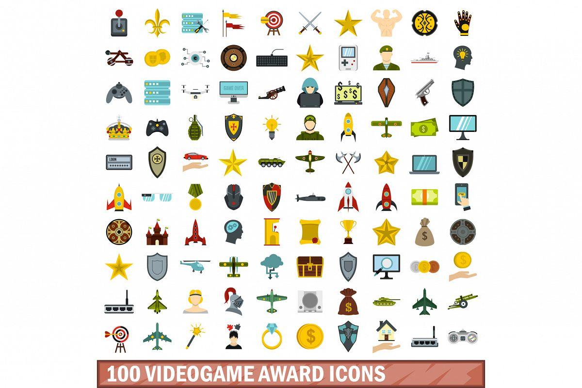 100 videogame award icons set, flat style example image 1