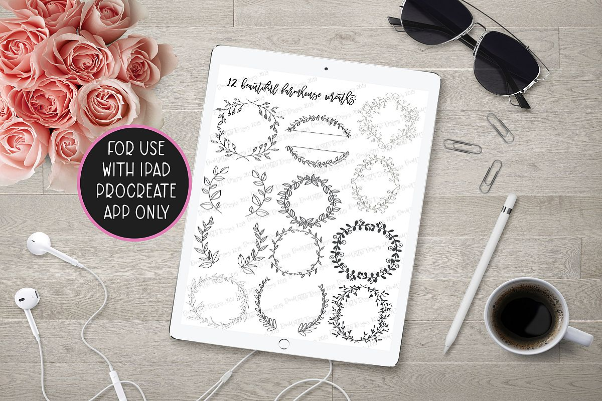 Procreate Farmhouse Wreath Bundle of 12 Stamps and Bonus example image 1