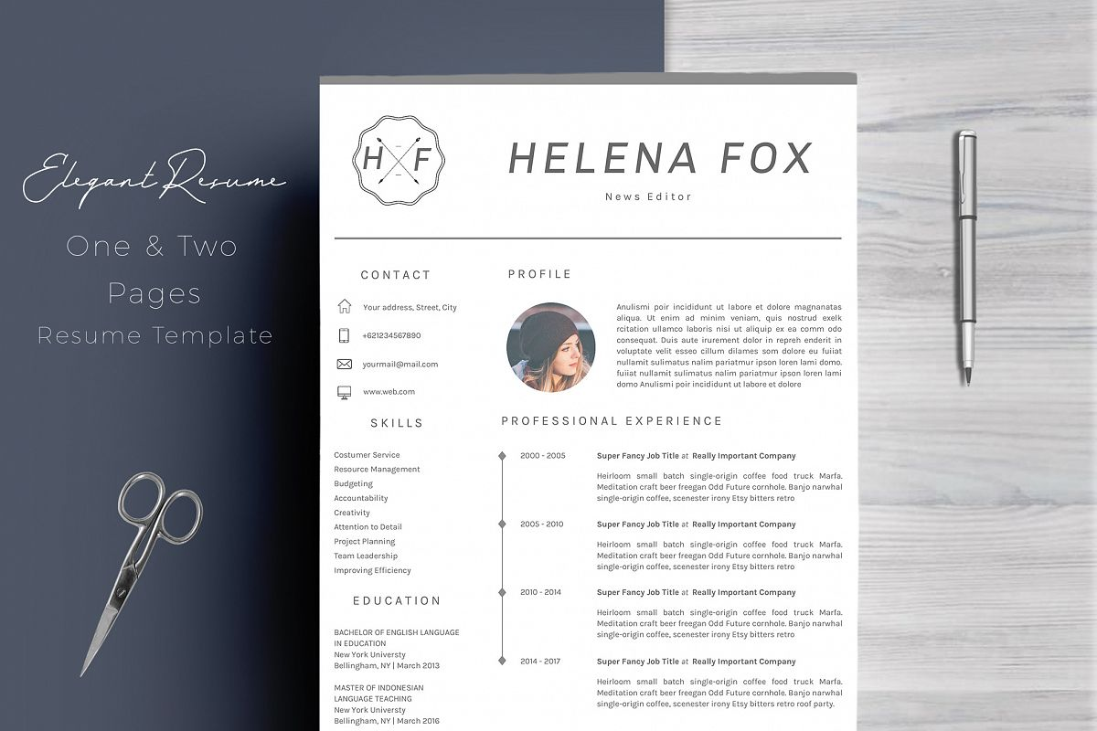 creative chic resume template 4 pages b design bundles